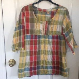 4 for $20 ART AND SOUL PLAID BOHO TOP
